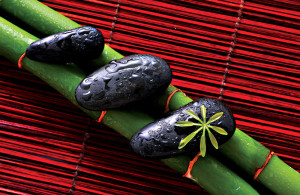 zen stones and green bamboo in the water